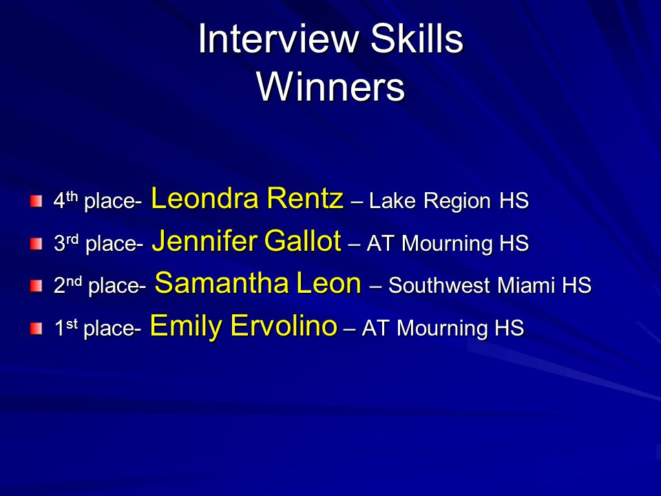 Interview Skills Winners 4 th place- Leondra Rentz – Lake Region HS 3 rd place- Jennifer Gallot – AT Mourning HS 2 nd place- Samantha Leon – Southwest