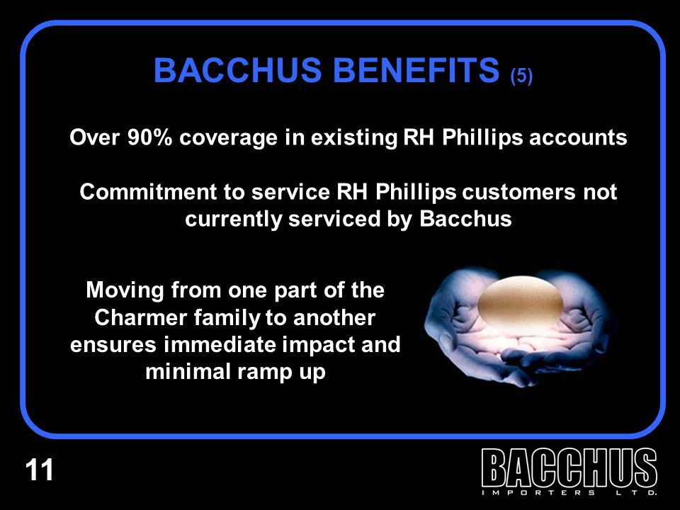 Over 90% coverage in existing RH Phillips accounts Commitment to service RH Phillips customers not currently serviced by Bacchus BACCHUS BENEFITS (5)