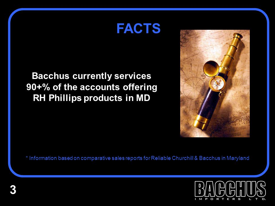 BACCHUS IS THE RIGHT CHOICE IN MARYLAND RESOURCES: Latest technology and marketing support available to our customers & sales force 24 hours a day HISTORY: Seventeen years in the market with substantial growth annually COMMITMENT: RH-Phillips-Hogue will immediately become our #1 domestic supplier - #3 overall SMOOTH TRANSITION: Similar market numbers and increased on-premise exposure ensures immediate impact and minimal ramp up RESULTS: A proven track record with new & established brands PEOPLE: Loyal, motivated, successful salespeople who know the Maryland market REACH: Dominant presence in major on-premise & off-premise accounts 14