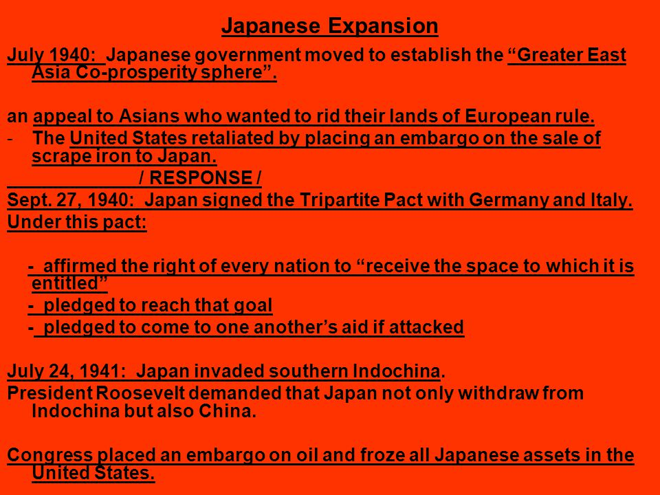 Japanese Expansion July 1940: Japanese government moved to establish the Greater East Asia Co-prosperity sphere .