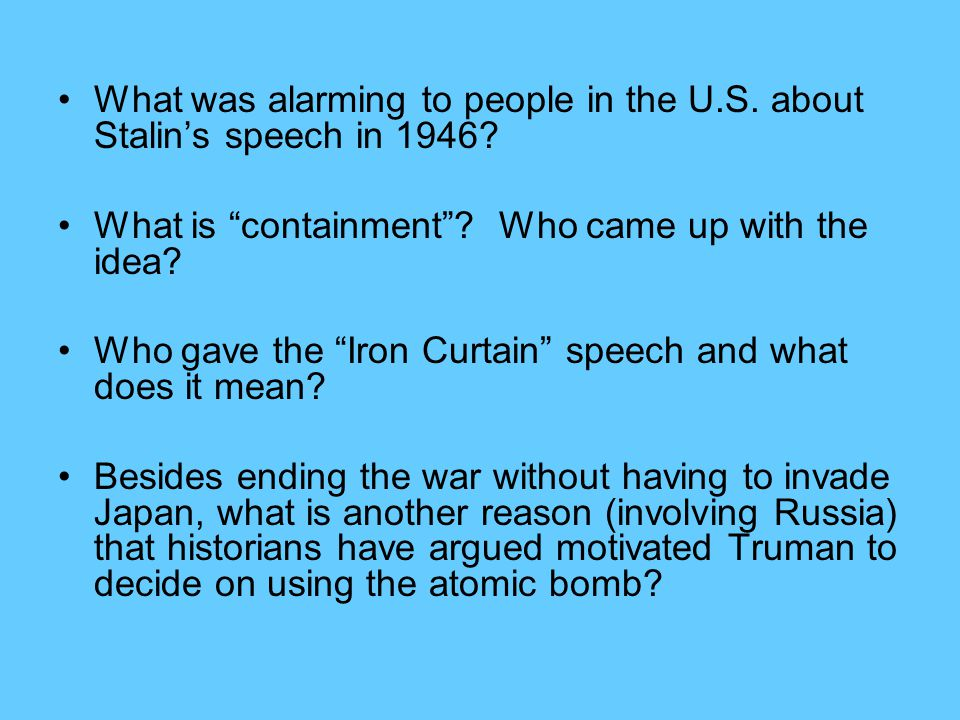 What was alarming to people in the U.S.about Stalin's speech in 1946.