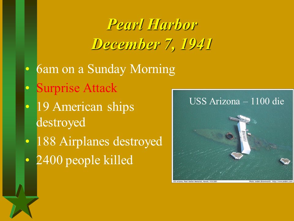 Pearl Harbor December 7, 1941 6am on a Sunday Morning Surprise Attack 19 American ships destroyed 188 Airplanes destroyed 2400 people killed USS Arizo