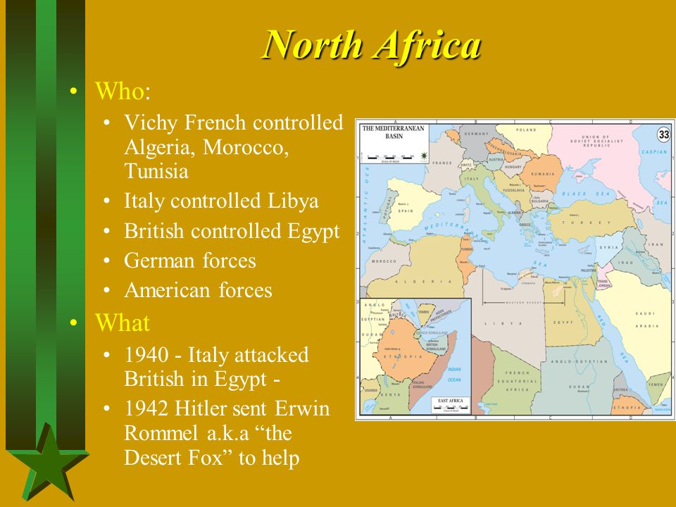 North Africa Who: Vichy French controlled Algeria, Morocco, Tunisia Italy controlled Libya British controlled Egypt German forces American forces What