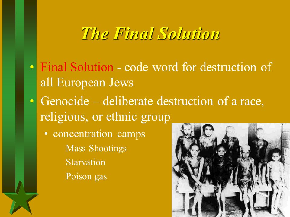 The Final Solution Final Solution - code word for destruction of all European Jews Genocide – deliberate destruction of a race, religious, or ethnic g