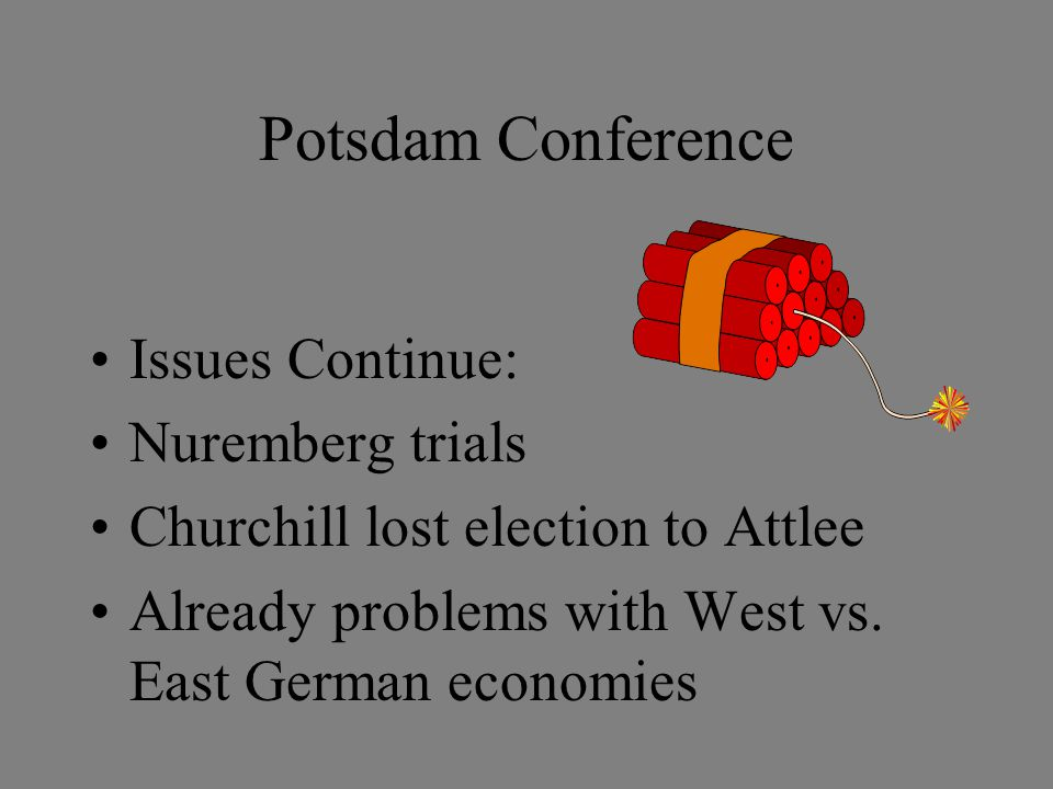 Potsdam Conference Issues Continue: Nuremberg trials Churchill lost election to Attlee Already problems with West vs.