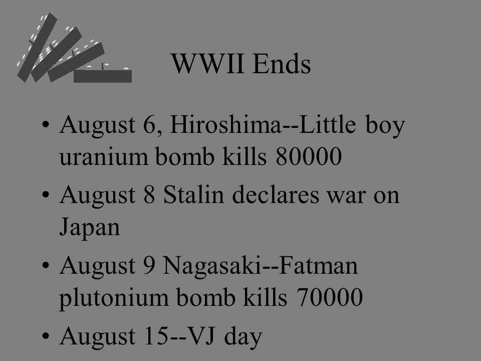 WWII Ends August 6, Hiroshima--Little boy uranium bomb kills 80000 August 8 Stalin declares war on Japan August 9 Nagasaki--Fatman plutonium bomb kills 70000 August 15--VJ day