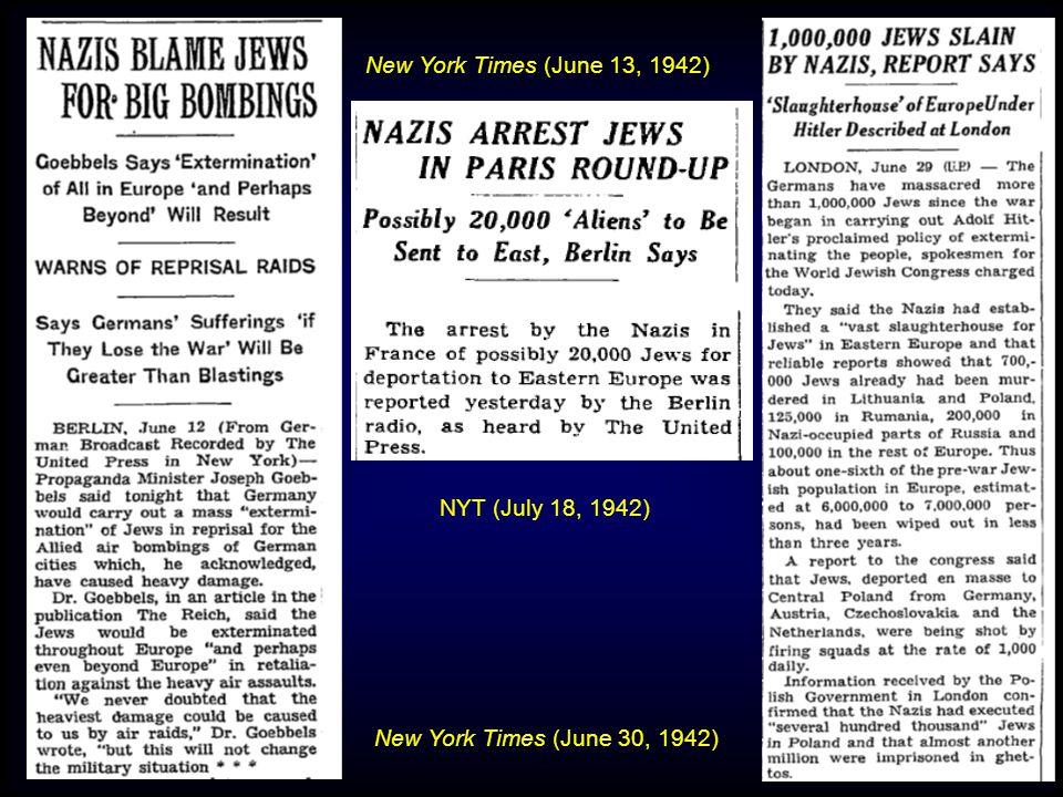 New York Times (June 13, 1942) New York Times (June 30, 1942) NYT (July 18, 1942)