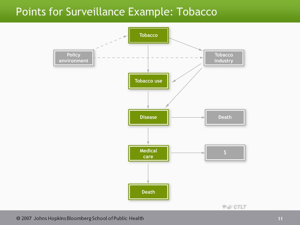  2007 Johns Hopkins Bloomberg School of Public Health 12 Modeling a Surveillance System Source: Teutsch and Churchill.