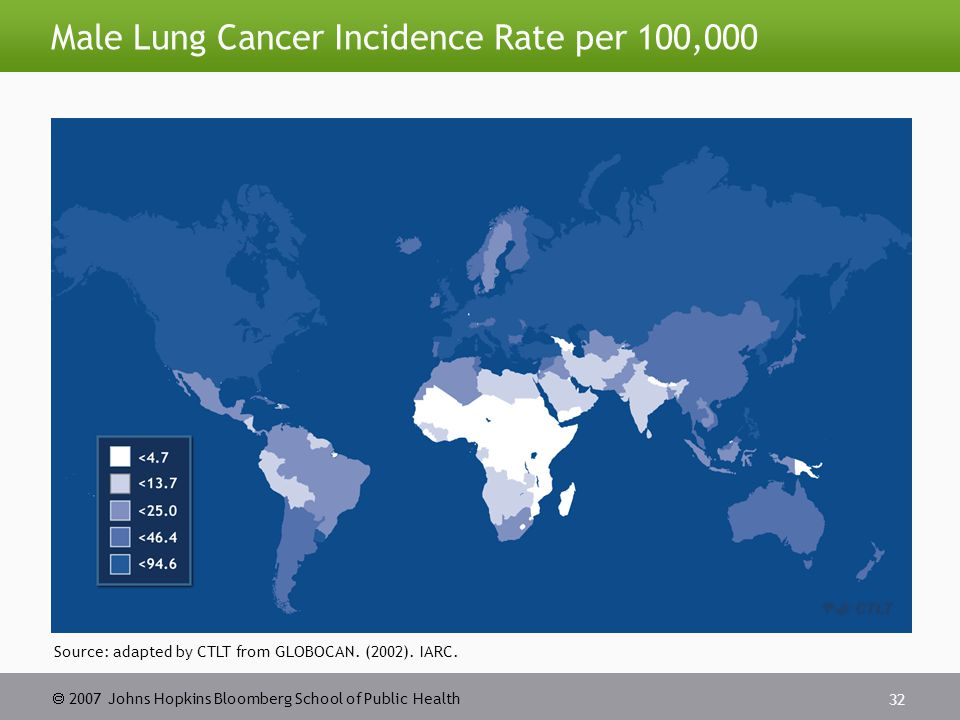  2007 Johns Hopkins Bloomberg School of Public Health 33 Female Lung Cancer Incidence Rate per 100,000 Source: adapted by CTLT from GLOBOCAN.
