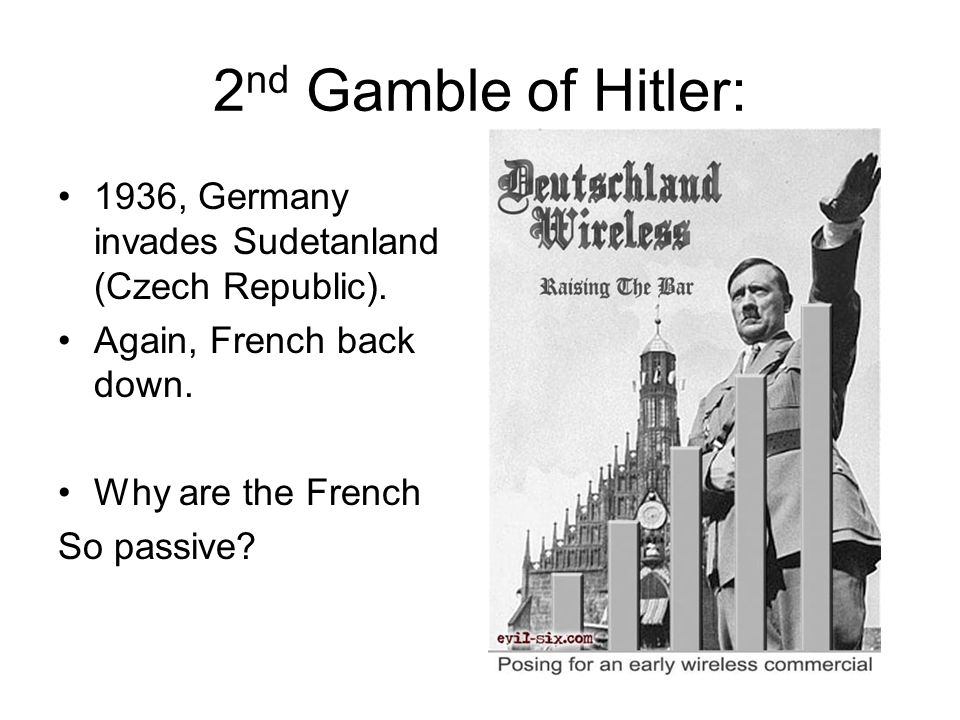 1 st Gamble of Hitler: 1936, Germany invades The Rhineland (between Germany and France). France loses chance to stop Hitler. -German army still weak.