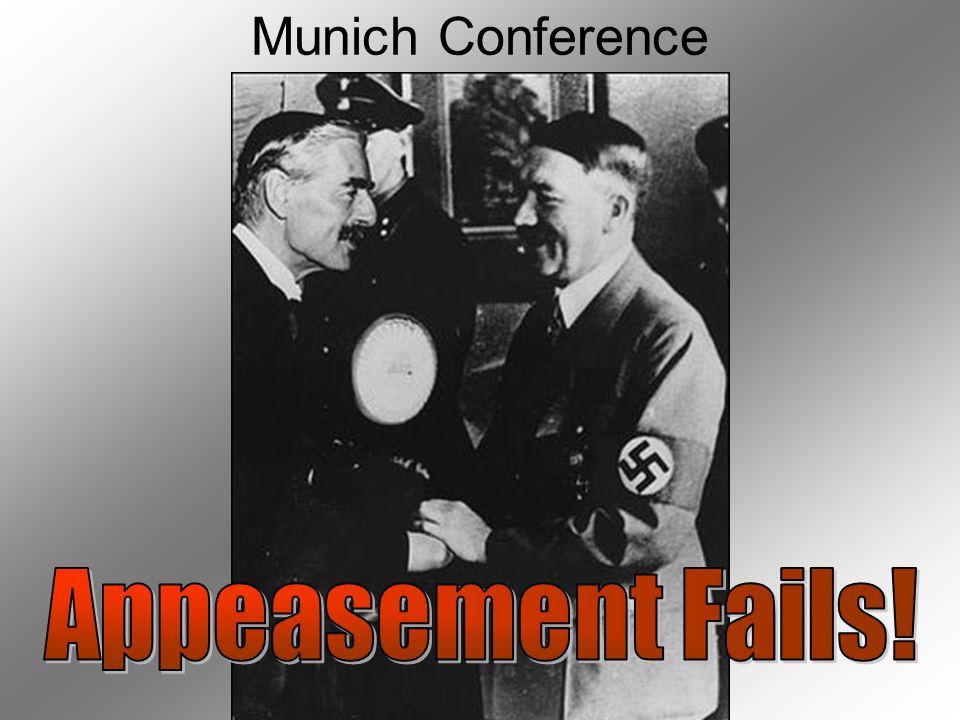 Munich Conference Leaders of Britain, France, Italy, and Germany met in Munich in 1938 Britain and France agreed to give Hitler the Sudetenland and Hi