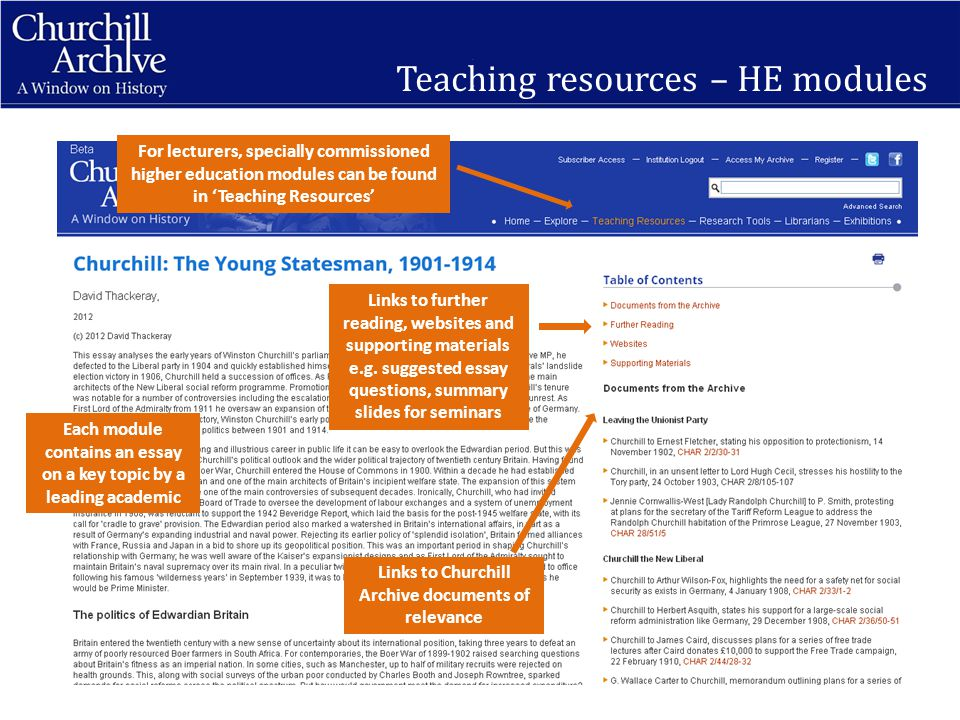 Teaching resources – HE modules For lecturers, specially commissioned higher education modules can be found in 'Teaching Resources' Each module contains an essay on a key topic by a leading academic Links to further reading, websites and supporting materials e.g.
