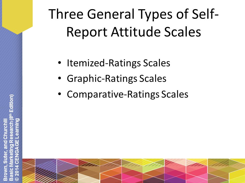 Brown, Suter, and Churchill Basic Marketing Research (8 th Edition) © 2014 CENGAGE Learning Three General Types of Self- Report Attitude Scales Itemized-Ratings Scales Graphic-Ratings Scales Comparative-Ratings Scales