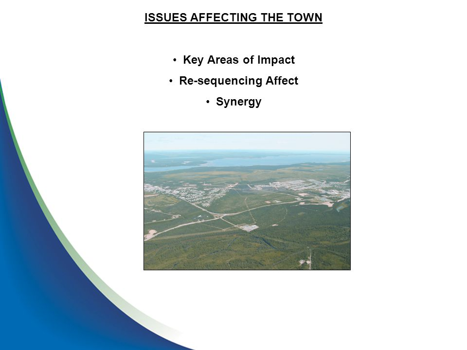 ISSUES AFFECTING THE TOWN Key Areas of Impact Re-sequencing Affect Synergy