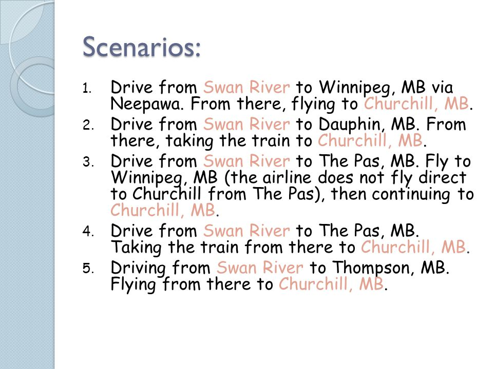 Scenarios: 1.Drive from Swan River to Winnipeg, MB via Neepawa.