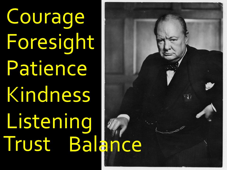 Courage Foresight Patience Kindness Trust Listening Balance