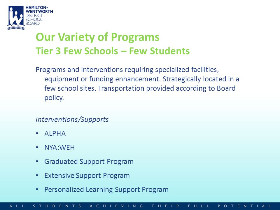 Our Variety of Programs Tier 3 Few Schools – Few Students Programs and interventions requiring specialized facilities, equipment or funding enhancemen