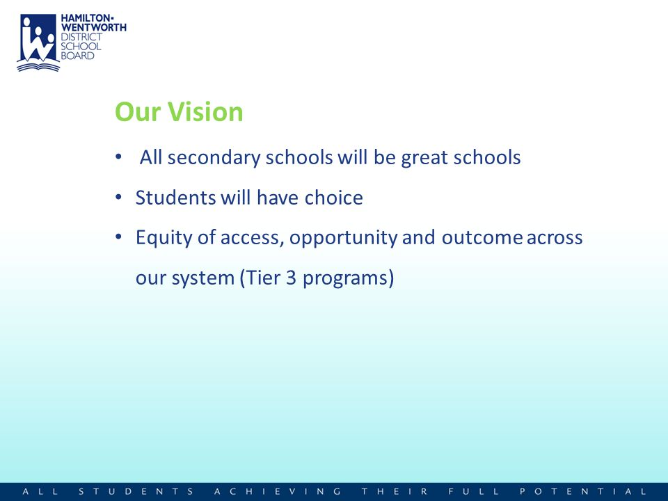 Our Vision All secondary schools will be great schools Students will have choice Equity of access, opportunity and outcome across our system (Tier 3 p