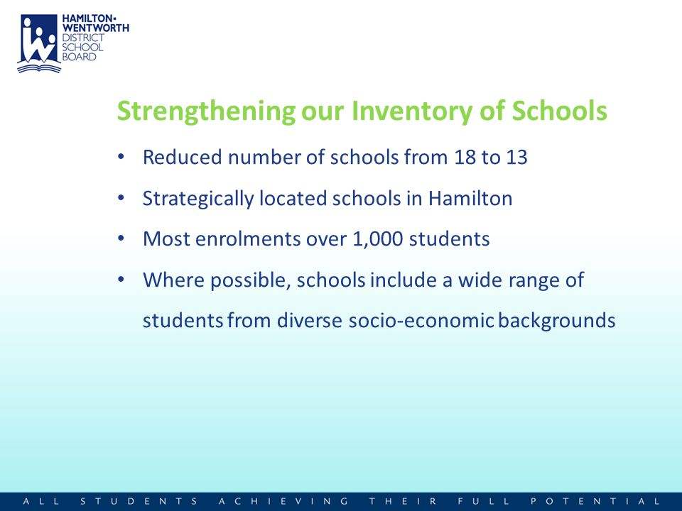 Strengthening our Inventory of Schools Reduced number of schools from 18 to 13 Strategically located schools in Hamilton Most enrolments over 1,000 st