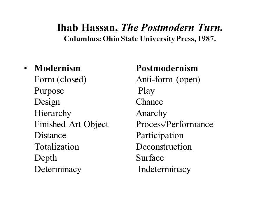 Ihab Hassan, The Postmodern Turn. Columbus: Ohio State University Press, 1987.