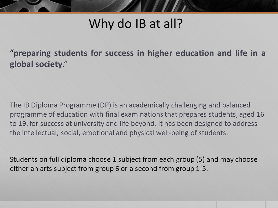 Why do IB at all.