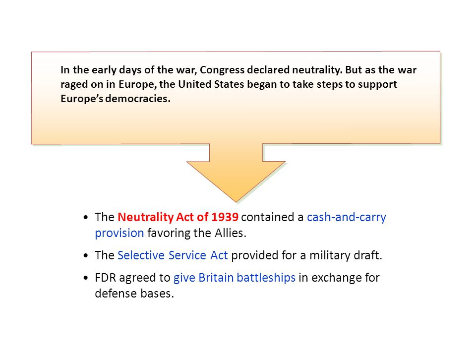 In the early days of the war, Congress declared neutrality.