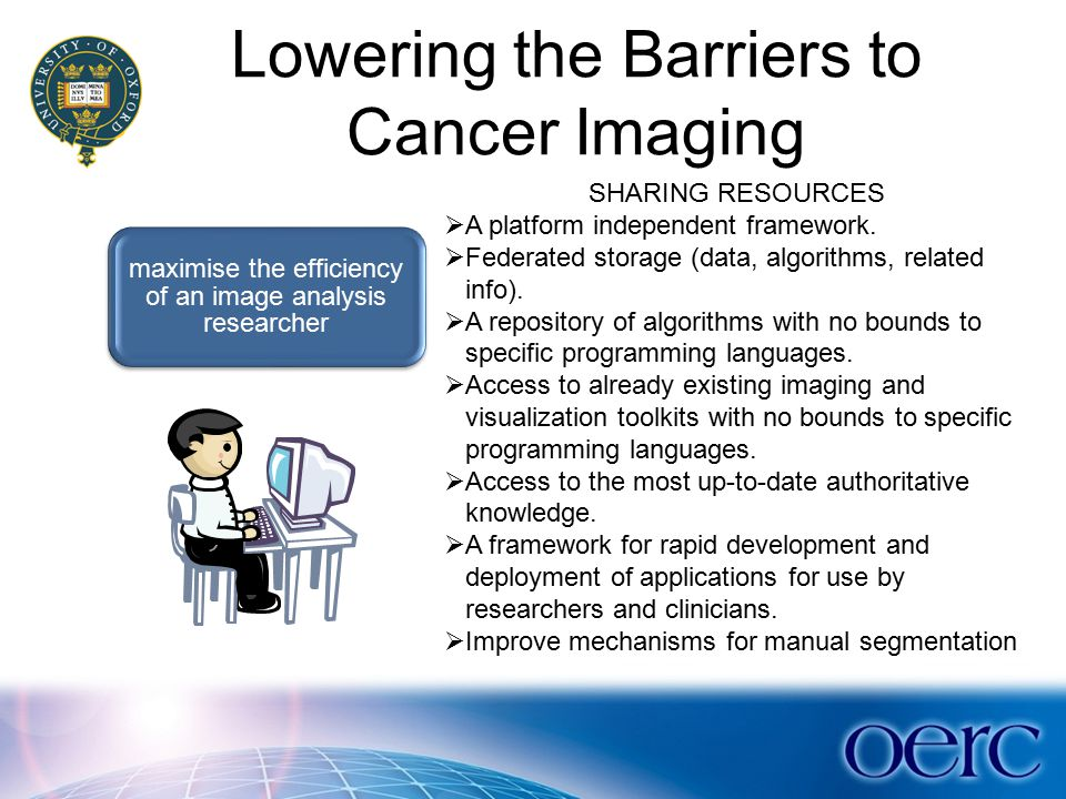 Lowering the Barriers to Cancer Imaging maximise the efficiency of an image analysis researcher SHARING RESOURCES  A platform independent framework.