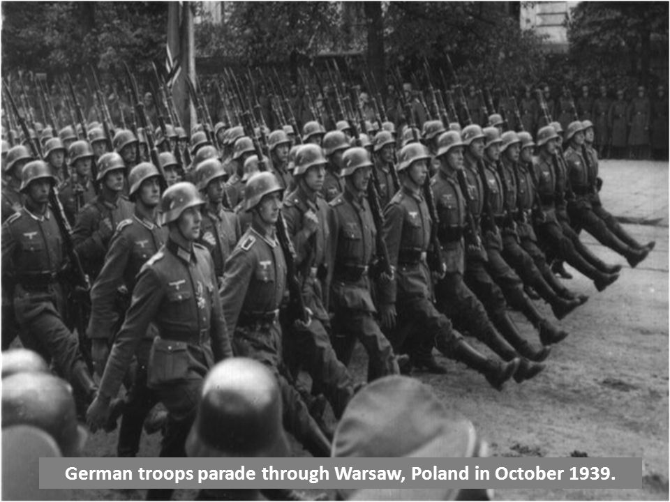 German troops parade through Warsaw, Poland in October 1939.