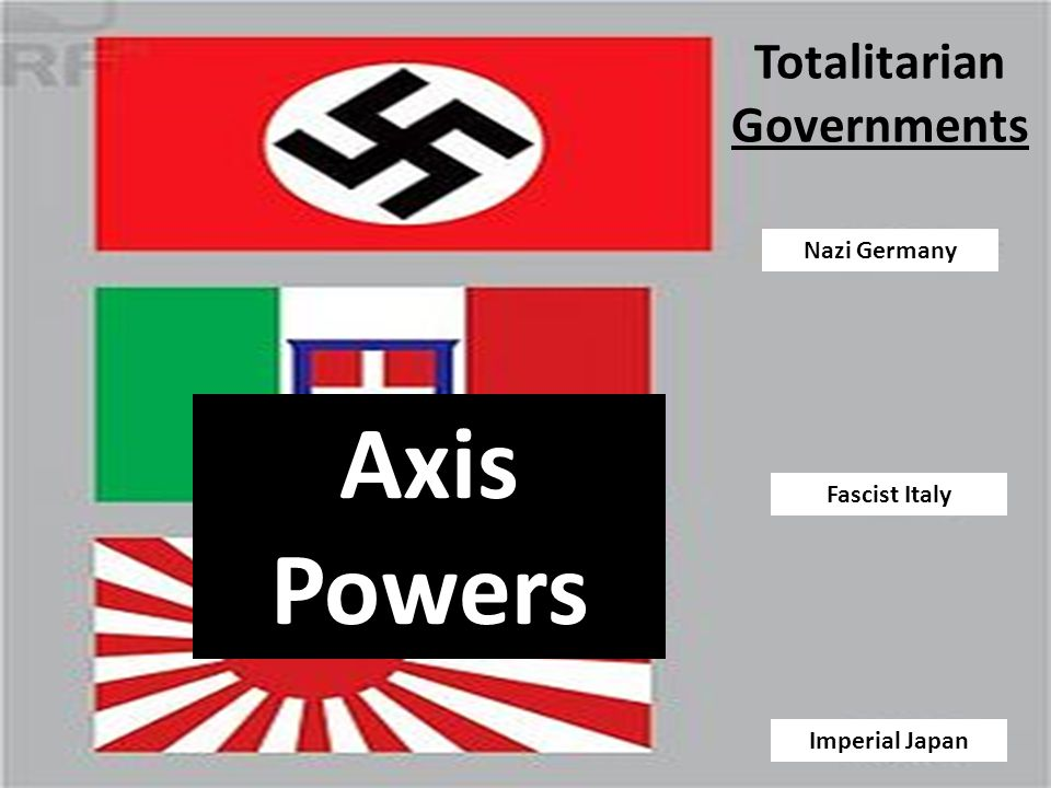 Totalitarian Governments Nazi Germany Imperial Japan Fascist Italy Axis Powers