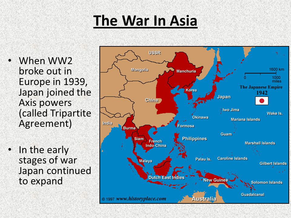 The War In Asia When WW2 broke out in Europe in 1939, Japan joined the Axis powers (called Tripartite Agreement) In the early stages of war Japan continued to expand