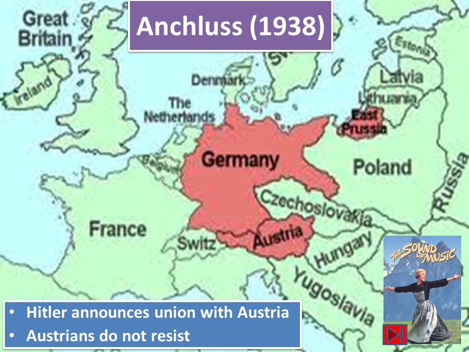 Germany Occupied the Rhineland (1936) Supposed to remain demilitarized zone as per the Versailles Treaty