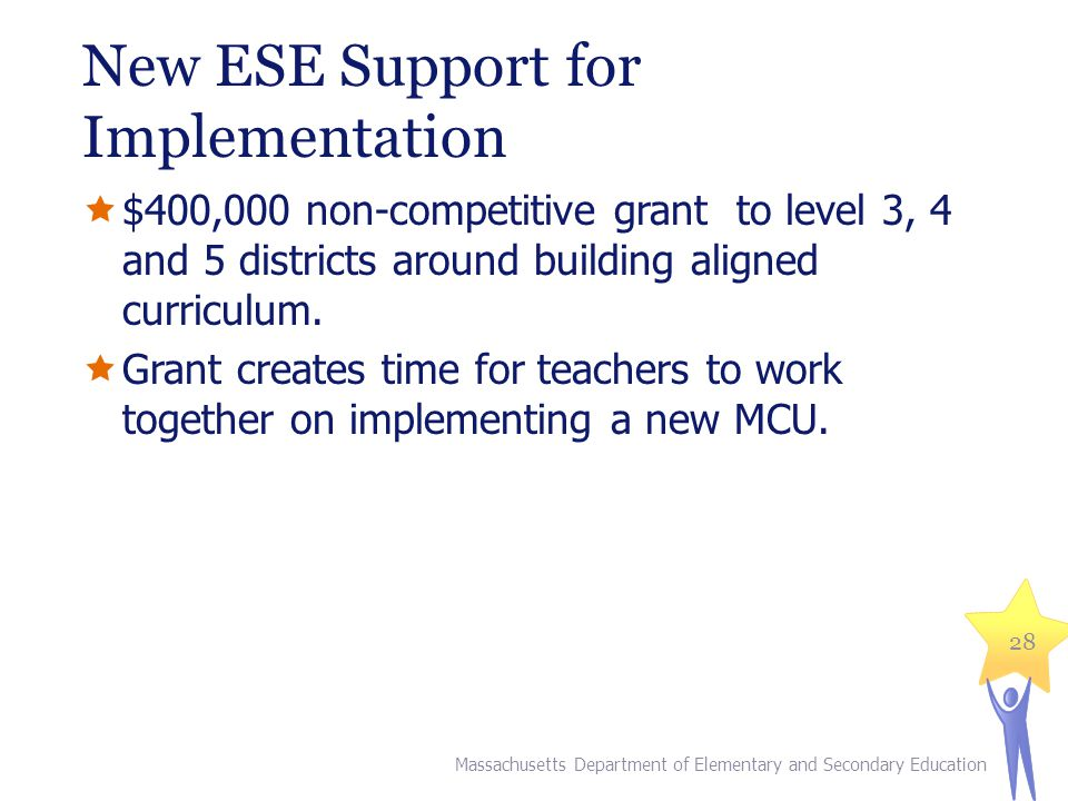New ESE Support for Implementation  $400,000 non-competitive grant to level 3, 4 and 5 districts around building aligned curriculum.