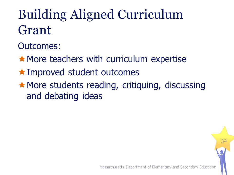 Building Aligned Curriculum Grant Outcomes:  More teachers with curriculum expertise  Improved student outcomes  More students reading, critiquing, discussing and debating ideas Massachusetts Department of Elementary and Secondary Education 32
