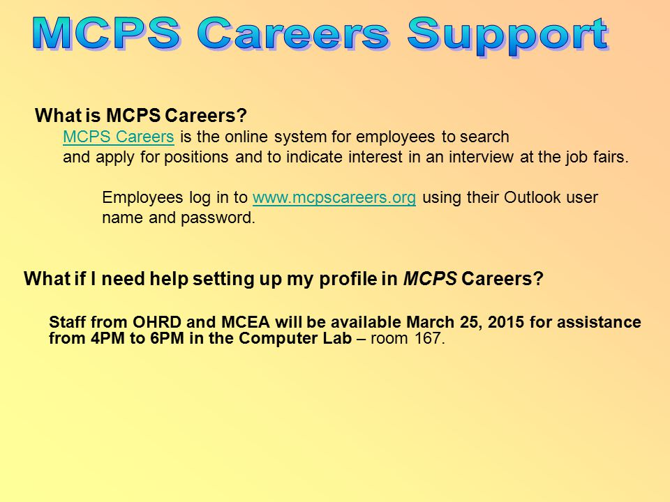 What if I need help setting up my profile in MCPS Careers.