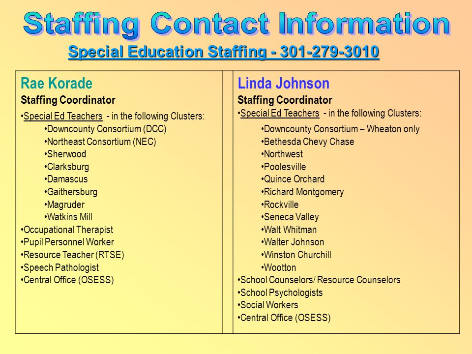 Special Education Staffing - 301-279-3010 Rae Korade Staffing Coordinator Special Ed Teachers - in the following Clusters: Downcounty Consortium (DCC) Northeast Consortium (NEC) Sherwood Clarksburg Damascus Gaithersburg Magruder Watkins Mill Occupational Therapist Pupil Personnel Worker Resource Teacher (RTSE) Speech Pathologist Central Office (OSESS) Linda Johnson Staffing Coordinator Special Ed Teachers - in the following Clusters: Downcounty Consortium – Wheaton only Bethesda Chevy Chase Northwest Poolesville Quince Orchard Richard Montgomery Rockville Seneca Valley Walt Whitman Walter Johnson Winston Churchill Wootton School Counselors/ Resource Counselors School Psychologists Social Workers Central Office (OSESS)
