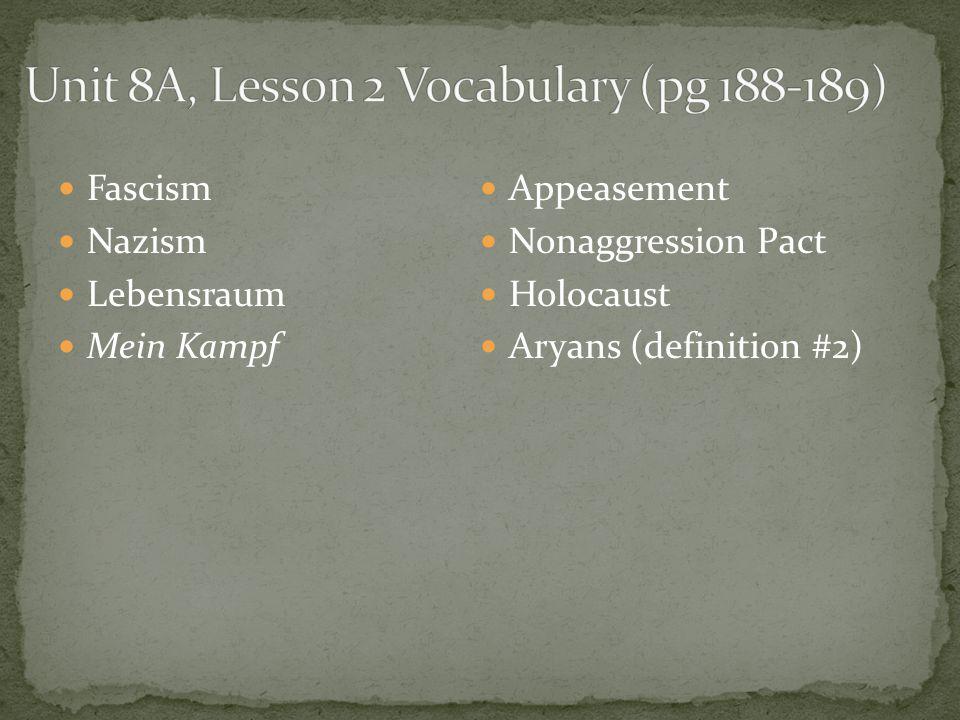 Fascism Nazism Lebensraum Mein Kampf Appeasement Nonaggression Pact Holocaust Aryans (definition #2)