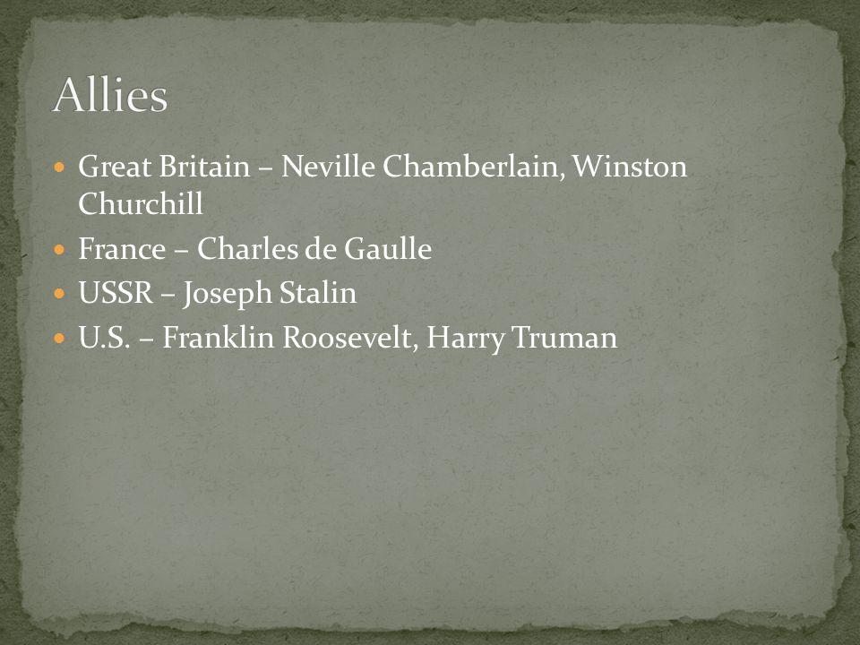 Great Britain – Neville Chamberlain, Winston Churchill France – Charles de Gaulle USSR – Joseph Stalin U.S.