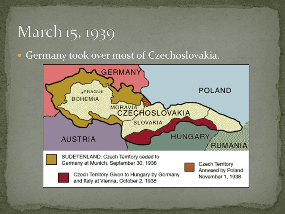 Germany took over most of Czechoslovakia.