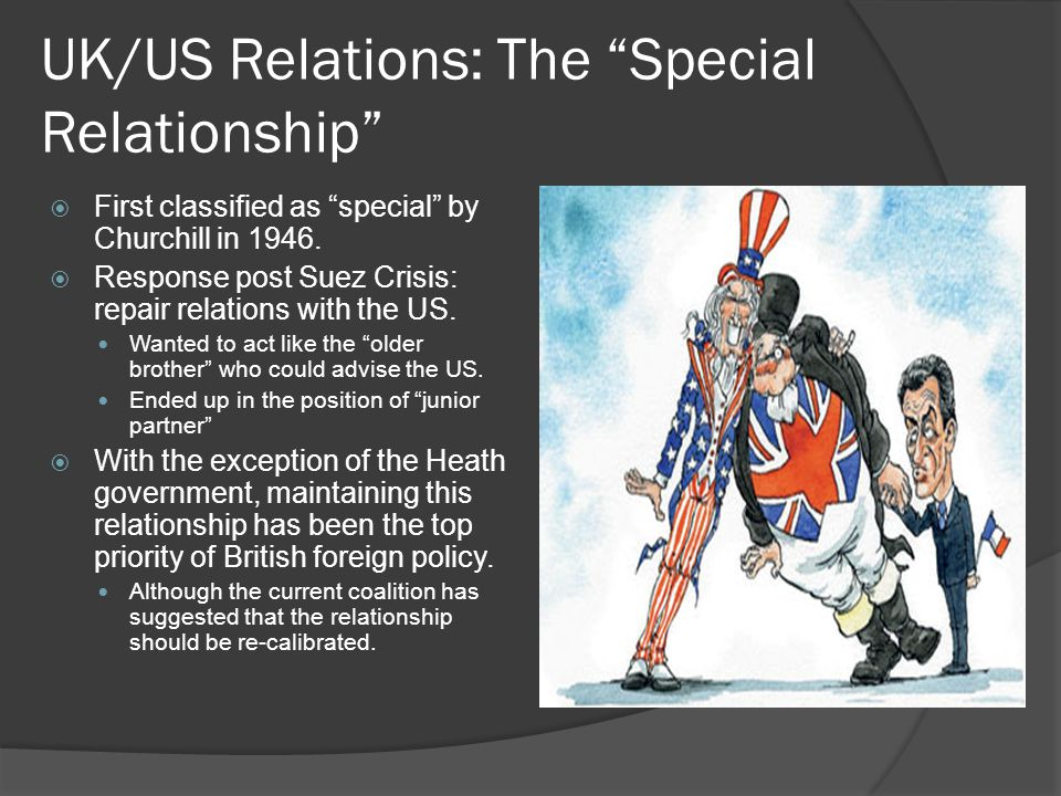 UK/US Relations: The Special Relationship  First classified as special by Churchill in 1946.