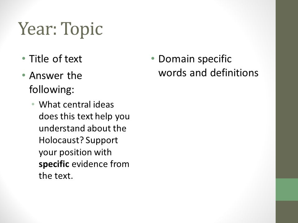 Year: Topic Title of text Answer the following: What central ideas does this text help you understand about the Holocaust? Support your position with