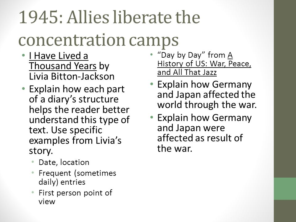 1945: Allies liberate the concentration camps I Have Lived a Thousand Years by Livia Bitton-Jackson Explain how each part of a diary's structure helps