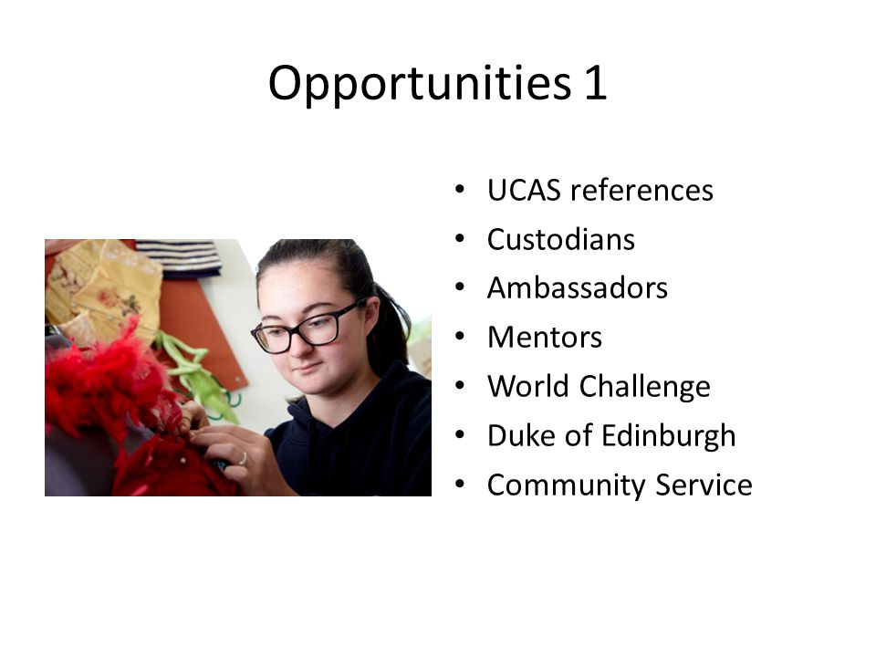 Opportunities 1 UCAS references Custodians Ambassadors Mentors World Challenge Duke of Edinburgh Community Service
