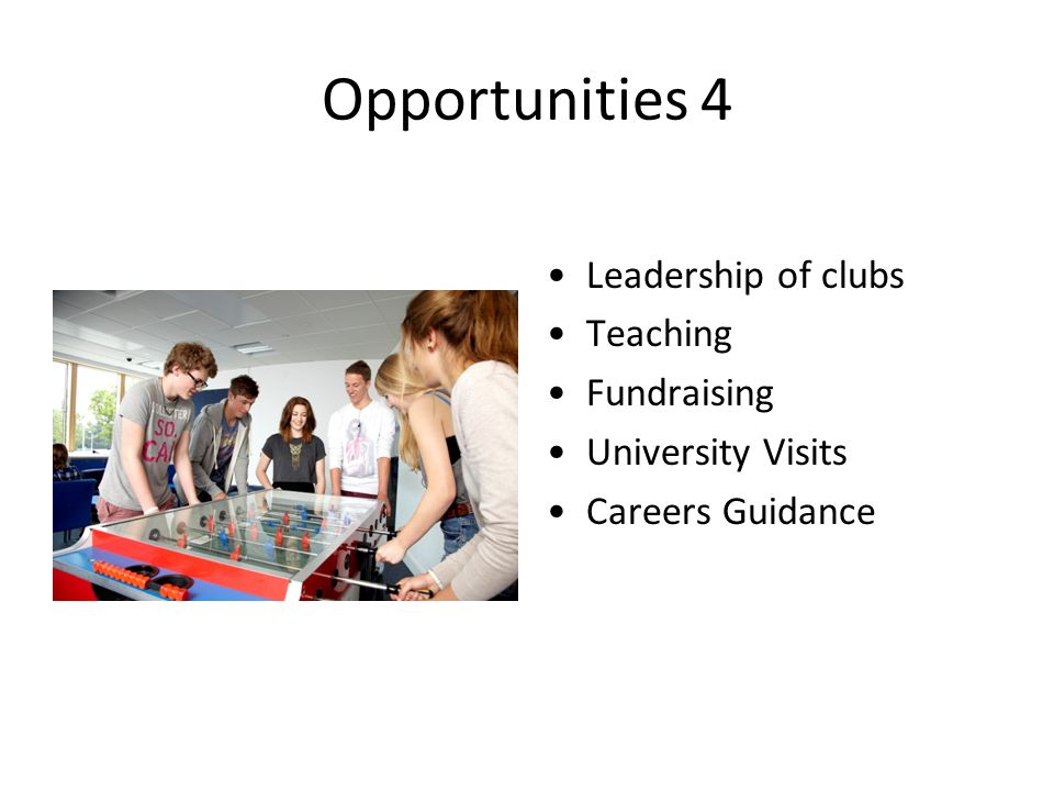 Opportunities 4 Leadership of clubs Teaching Fundraising University Visits Careers Guidance