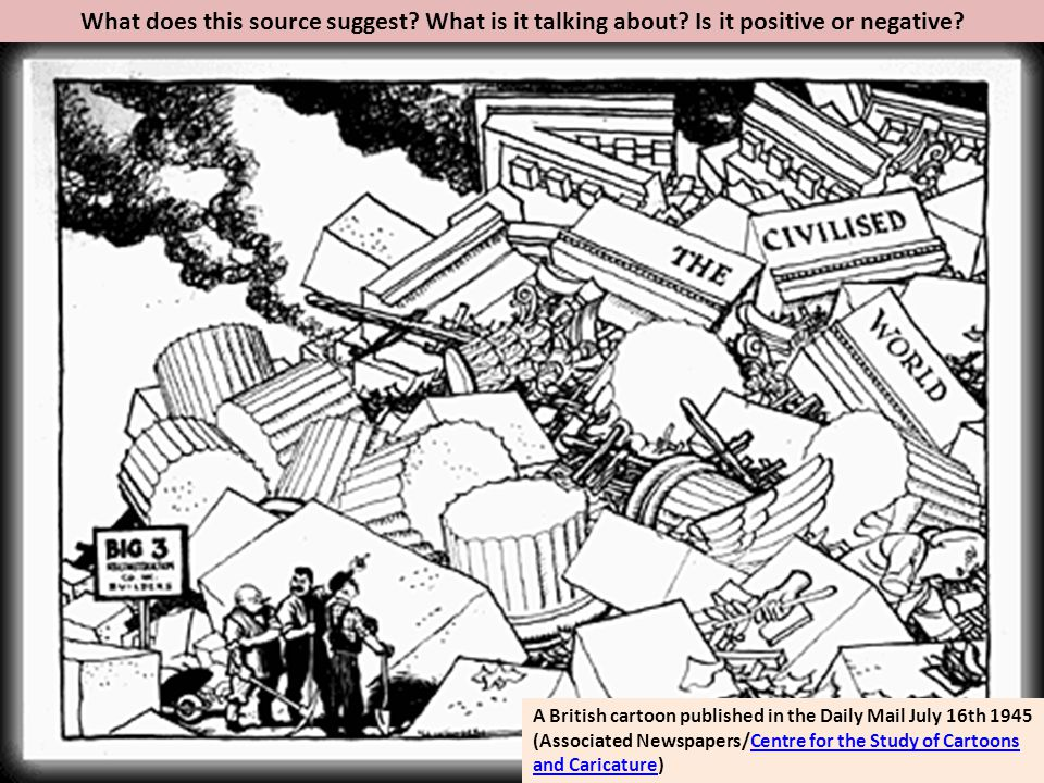 What does this source suggest? What is it talking about? Is it positive or negative? A British cartoon published in the Daily Mail July 16th 1945 (Ass