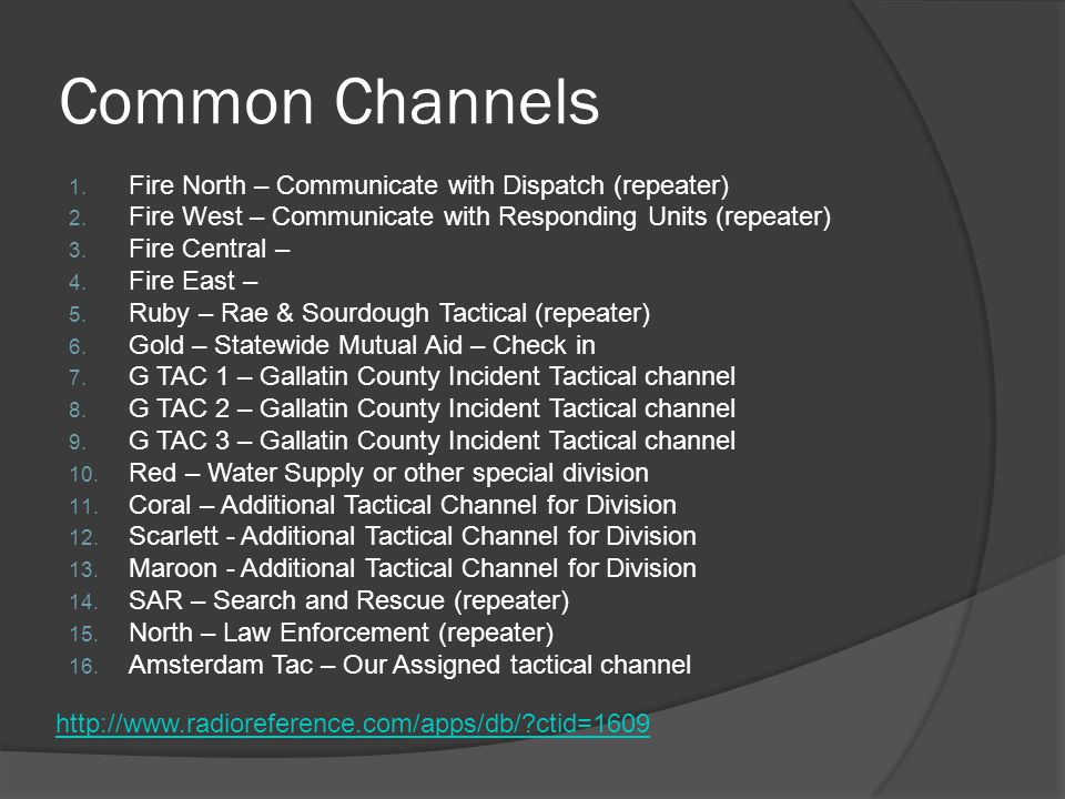 Common Channels 1. Fire North – Communicate with Dispatch (repeater) 2. Fire West – Communicate with Responding Units (repeater) 3. Fire Central – 4.