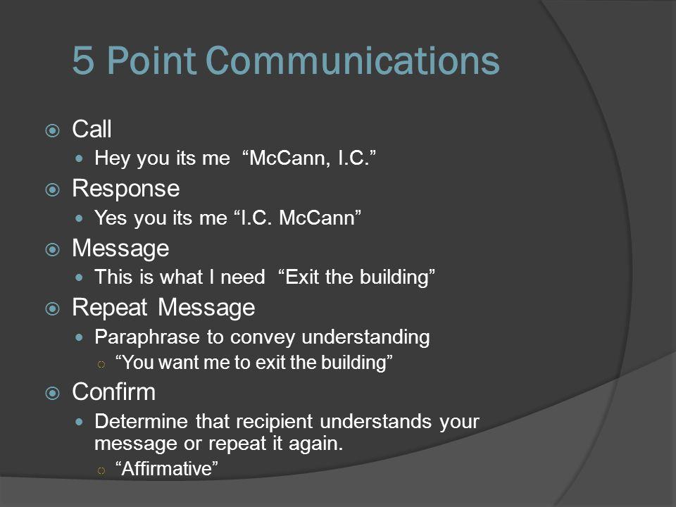 5 Point Communications  Call Hey you its me McCann, I.C.  Response Yes you its me I.C.