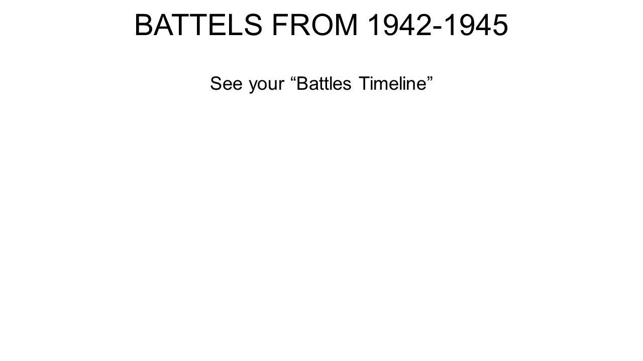 """BATTELS FROM 1942-1945 See your """"Battles Timeline"""""""