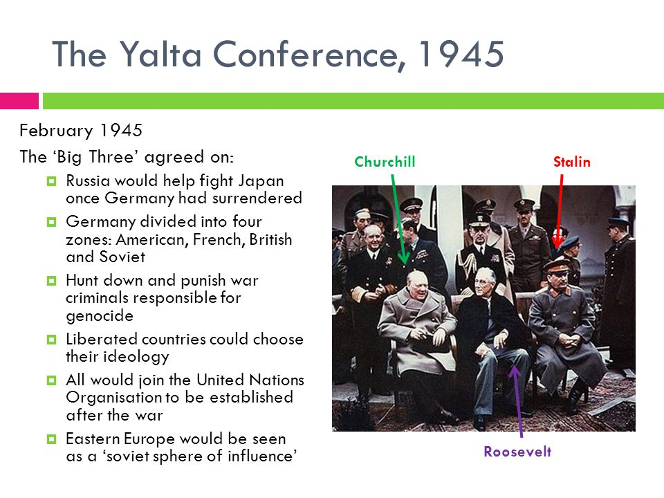 The Yalta Conference, 1945 February 1945 The 'Big Three' agreed on:  Russia would help fight Japan once Germany had surrendered  Germany divided into four zones: American, French, British and Soviet  Hunt down and punish war criminals responsible for genocide  Liberated countries could choose their ideology  All would join the United Nations Organisation to be established after the war  Eastern Europe would be seen as a 'soviet sphere of influence' Stalin Roosevelt Churchill
