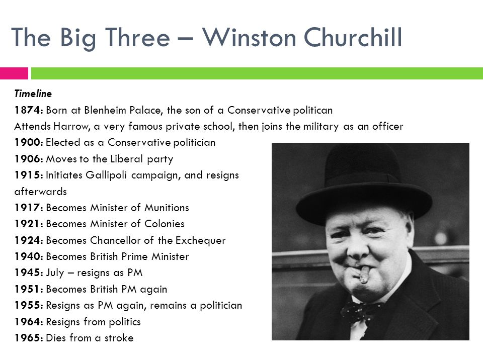 The Big Three – Winston Churchill Timeline 1874: Born at Blenheim Palace, the son of a Conservative politican Attends Harrow, a very famous private school, then joins the military as an officer 1900: Elected as a Conservative politician 1906: Moves to the Liberal party 1915: Initiates Gallipoli campaign, and resigns afterwards 1917: Becomes Minister of Munitions 1921: Becomes Minister of Colonies 1924: Becomes Chancellor of the Exchequer 1940: Becomes British Prime Minister 1945: July – resigns as PM 1951: Becomes British PM again 1955: Resigns as PM again, remains a politician 1964: Resigns from politics 1965: Dies from a stroke