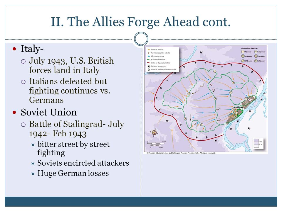 II. The Allies Forge Ahead cont. Italy-  July 1943, U.S. British forces land in Italy  Italians defeated but fighting continues vs. Germans Soviet U